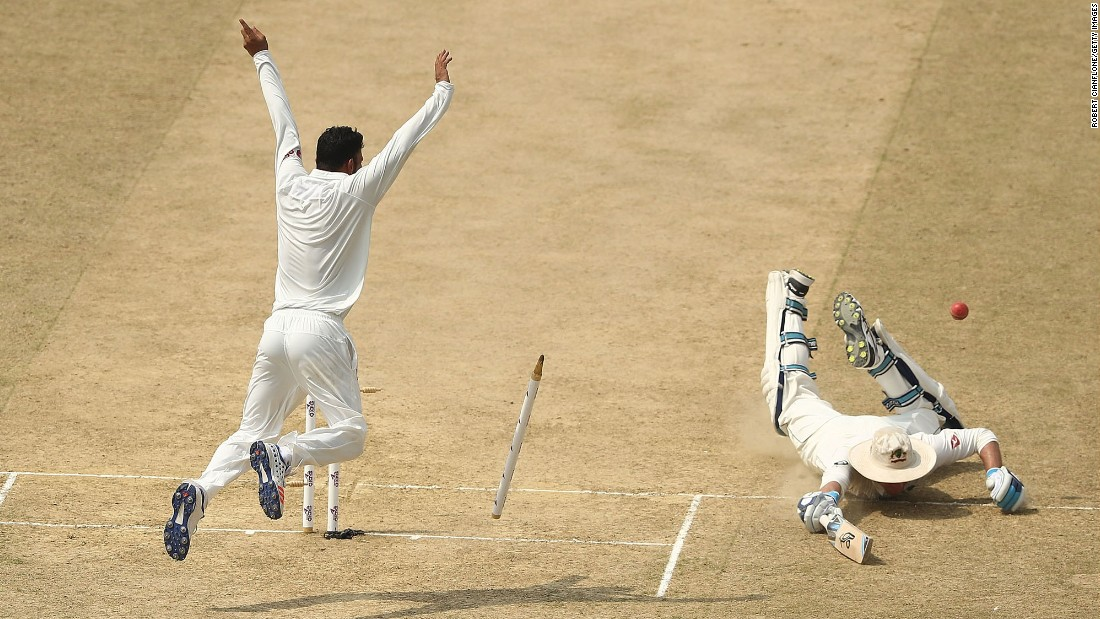 Australian cricketer Peter Handscomb is run out by a throw from Bangladesh's Shakib Al Hasan during a Test match in Chittagong, Bangladesh, on Wednesday, September 6.