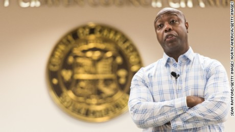 Sen. Tim Scott (R-SC) addresses a crowd at a town hall meeting at the Charleston County Council Chambers on February 25, 2017 in North Charleston, South Carolina.