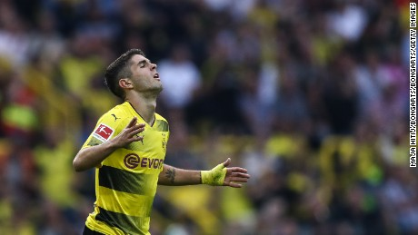 Christian Pulisic of Dortmund reacts during the Bundesliga match between Borussia Dortmund and Hertha BSC at Signal Iduna Park on August 26, 2017 in Dortmund, Germany. (
