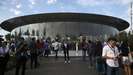 The Steve Jobs Theatre at Apple Park in Cupertino, California, where Apple unveiled a new iPhone.