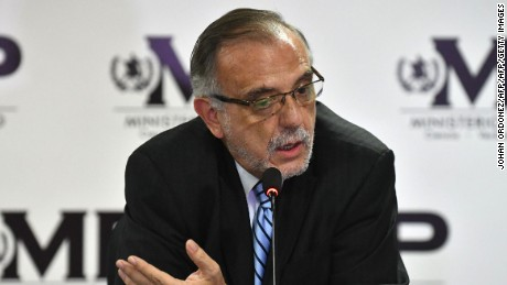 The head of the International Commission Against Impunity in Guatemala (CICIG), Ivan Velasquez of Colombia, speaks in a press conference with Guatemalan Attorney General Thelma Aldana (out of frame), in Guatemala City on August 25, 2017.  Guatemala's public prosecutor's office and CICIG, the United Nations commission against corruption, called Friday for President Jimmy Morales to be stripped of his immunity from prosecution, as he is suspected of irregularities during the 2015 election campaign that brought him to power. / AFP PHOTO / JOHAN ORDONEZ        (Photo credit should read JOHAN ORDONEZ/AFP/Getty Images)