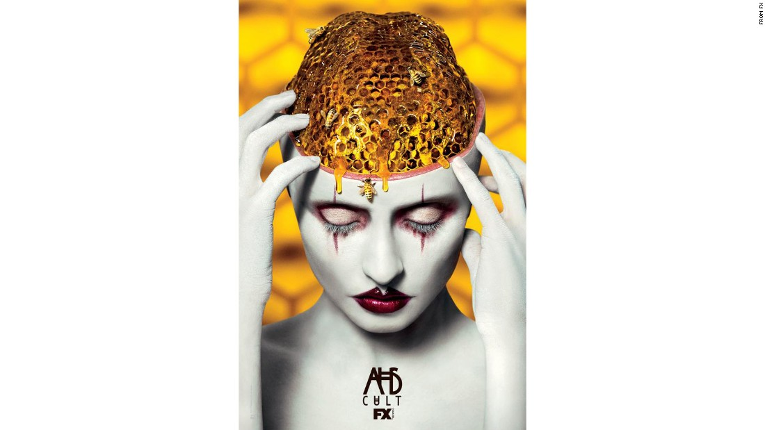 "In this advertisement for ""American Horror Story: Cult,"" the show has photo-edited a honeycomb onto a person's head. Research shows that holes, bumps or rashes on the human body are some of the most disturbing to those with the disorder."