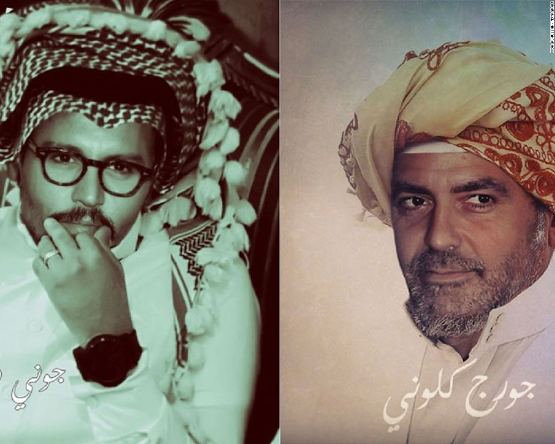 "Many other young Saudi artists are turning to digital art to ""Arabize"" several famous Western and international pop culture figures, such as American actors Johnny Depp (left) and George Clooney."