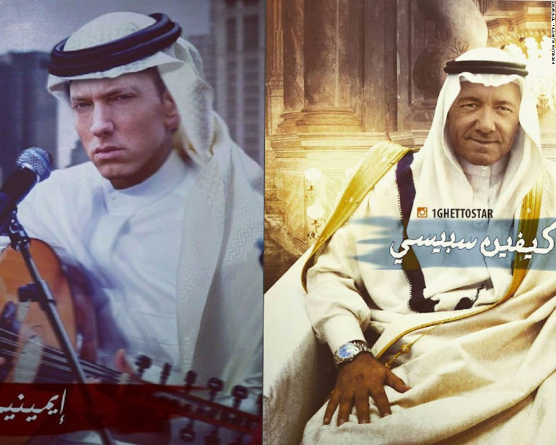 Abdallah Al Harthy, a freelance artist, was among the first Saudis to use digital art to imagine famous celebrities, such as rapper Eminem (left) and actor Kevin Spacey, as Saudis, back in 2010.