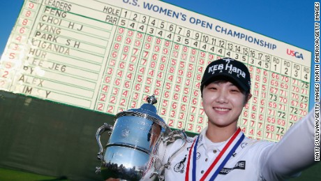 Park Sung-hyun celebrates winning the US Women's Open Championship at Trump National Golf Club on July 16, 2017.