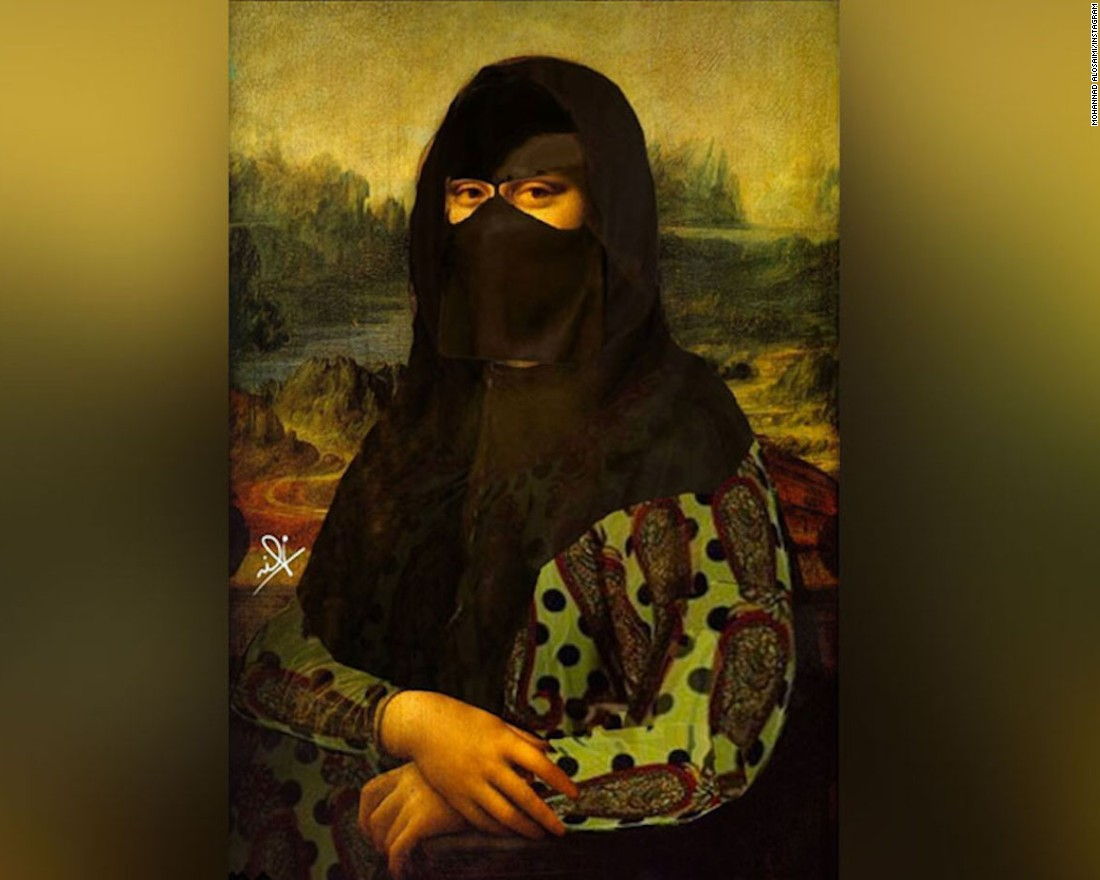 "Al Osaimi believes the ""weirdness"" of the cultural combinations he creates is the reason behind their success. Here, Leonardo da Vinci's ""Mona Lisa"" painting is given an Arab twist."