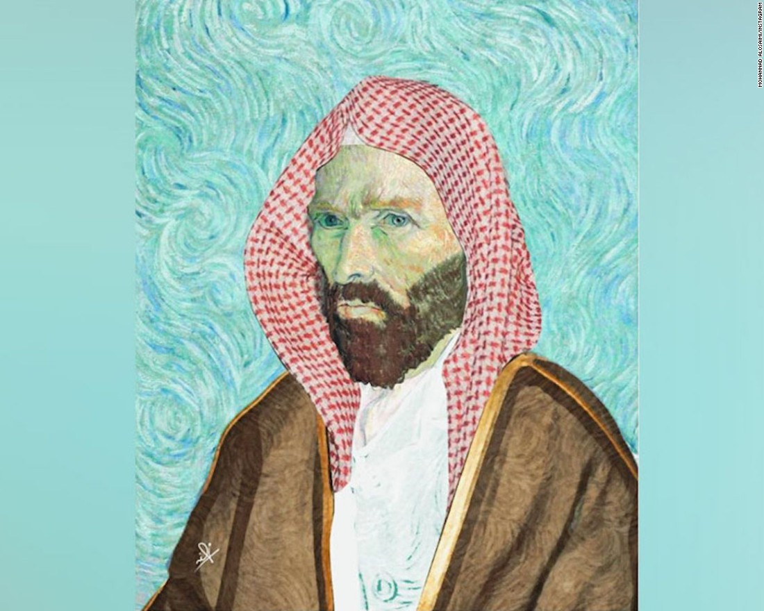 Al Osaimi's is one of the many  young Saudi voices mixing local culture with Western pop icons, such as painter Vincent Van Gogh.