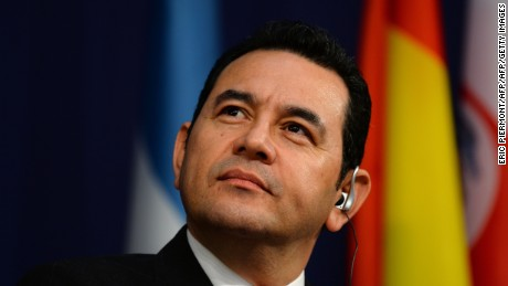 Guatemalan President Jimmy Morales attends the 2017 International Economic Forum on Latin America and the Caribbean at the French economy ministry in Paris on June 9, 2017. / AFP PHOTO / ERIC PIERMONT        (Photo credit should read ERIC PIERMONT/AFP/Getty Images)