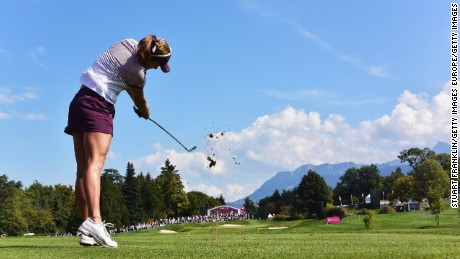 EVIAN-LES-BAINS, FRANCE - SEPTEMBER 11:  Lexi Thompson of USA plays a shot during the second round of the Evian Championship Golf on September 11, 2015 in Evian-les-Bains, France.  (Photo by Stuart Franklin/Getty Images)