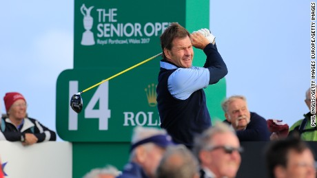 BRIDGEND, WALES - JULY 27:  Sir Nick Faldo of England in action during the first round of the Senior Open Championship presented by Rolex at Royal Porthcawl Golf Club on July 27, 2017 in Bridgend, Wales.  (Photo by Phil Inglis/Getty Images)