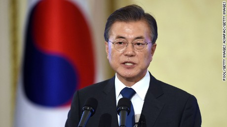 SEOUL, SOUTH KOREA - AUGUST 17:  South Korean President Moon Jae-in speaks during a press conference marking his first 100 days in office at the presidential blue house on August 17, 2017 in Seoul, South Korea.  (Photo by Jung Yeon-Je-Pool/Getty Images)