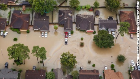 Neighborhoods near Interstate 10 in Houston sit in floodwaters in the wake of Hurricane Harvey.