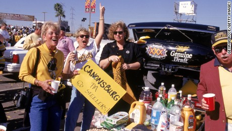 TEMPE, AZ - JANUARY 28:  Pittsburgh Pirates fans pose for a portrait during a tailgate party prior to Super Bowl XXX against the Dallas Cowboys at Sun Devil Stadium at Tempe, Arizona, on January 28, 1996. The Cowboys won 27-17. (Photo by George Rose/Getty Images)