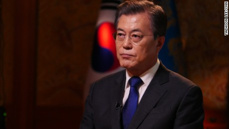 South Korean President Moon Jae-in speaks to CNN in Seoul on September 14, 2017.