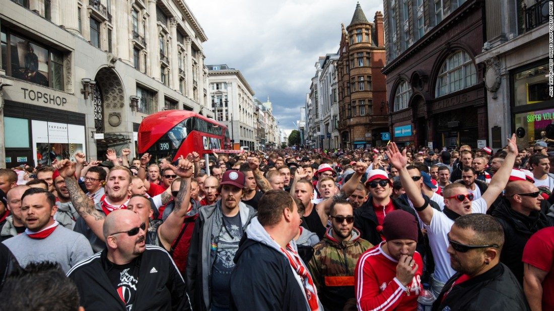 Cologne fans had marched through Soho before making their way to north London for the match.
