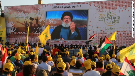 Hezbollah's secretary general Hasan Nasrallah delivers a televised speech to Lebanese supporters in August.