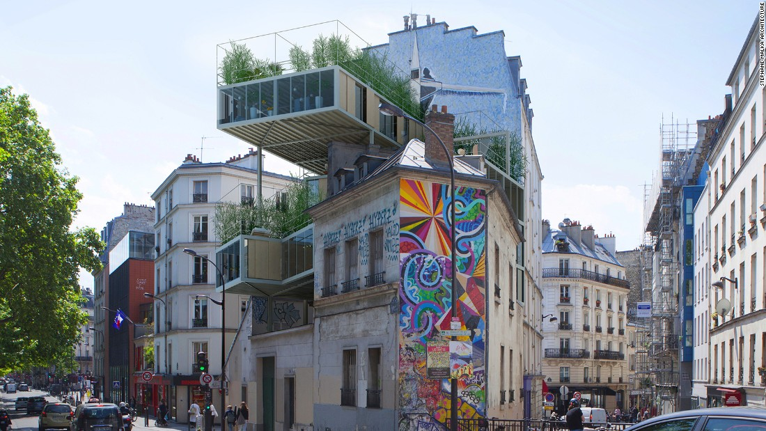 These glass, steel and wooden structures are designed to fill spaces between buildings in prime areas of Paris.