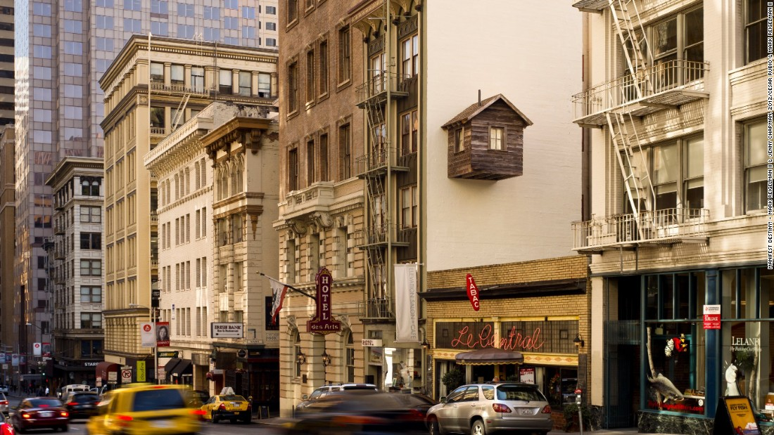 Attached to a downtown San Francisco hotel, this structure is an imaginative use of urban space.