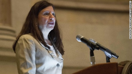 US acting Homeland Security Secretary Elaine Duke speaks at a naturalization ceremony at the National Archives in Washington, DC, on September 15, 2017. / AFP PHOTO / NICHOLAS KAMM        (Photo credit should read NICHOLAS KAMM/AFP/Getty Images)
