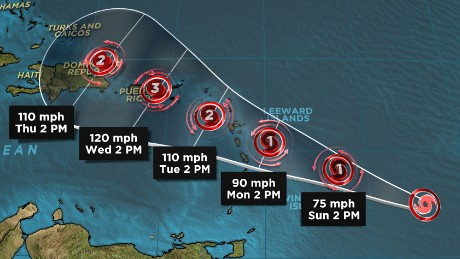 Hurricane Maria is expected to keep strenghening as it heads toward the Caribbean.