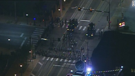Police and protesters clash in St. Louis