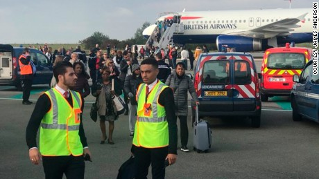A British Airways flight was evacuated at Charles de Gaulle airport in Paris on Sunday amid security concerns.
