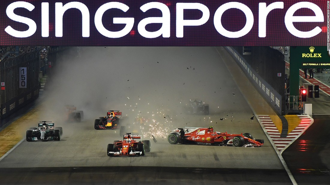 Ferrari's race was over almost as soon as it had begun as Raikkonen clashed with Red Bull Racing's Max Verstappen before hitting his teammate Vettel.