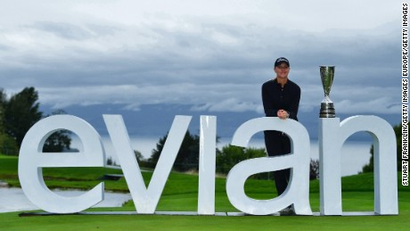 Sweden's Anna Nordqvist poses with the Evian Championship trophy after her playoff win in France.