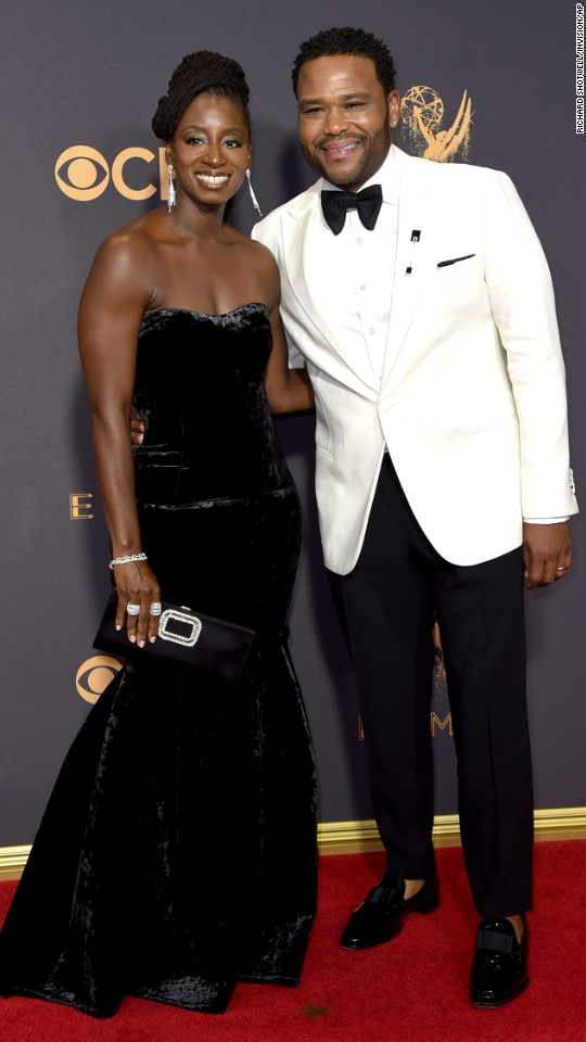 Alvina Stewart, left, and Anthony Anderson arrive at the 69th Primetime Emmy Awards on Sunday, September 17, at the Microsoft Theater in Los Angeles.