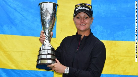 EVIAN-LES-BAINS, FRANCE - SEPTEMBER 17:  Anna Nordqvist of Sweden holds the trophy after winning during the play off after the final round of The Evian Championship at Evian Resort Golf Club on September 17, 2017 in Evian-les-Bains, France.  (Photo by Stuart Franklin/Getty Images)