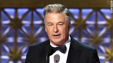 Alec Baldwin onstage accepting the Emmy for outstanding supporting actor in a comedy series.