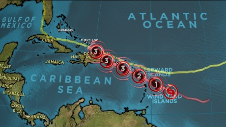 Hurricane Maria travels close to Irma's path