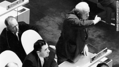 Soviet politician Nikita S. Khrushchev rises to his feet during a speech by British prime minister Harold Macmillan during the 15th session of the UN General Assembly at New York, September 9, 1960.