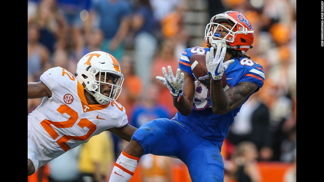 "Florida wide receiver Tyrie Cleveland catches a 63-yard ""Hail Mary"" touchdown pass to defeat Tennessee on Saturday, September 16. <a href=""http://bleacherreport.com/articles/2733573-feleipe-franks-hail-mary-to-tyrie-cleveland-gives-florida-win-over-tennessee"" target=""_blank"">See the game-winning play</a>"