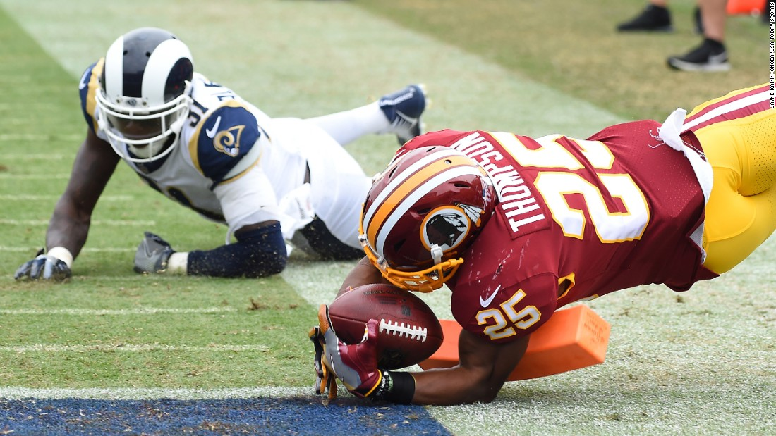 Washington running back Chris Thompson reaches the end zone during an NFL game in Los Angeles on Sunday, September 17. Thompson had two touchdowns in the game as the Redskins defeated the Rams 27-20.