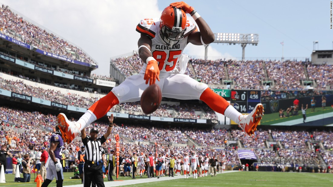Cleveland tight end David Njoku spikes the ball after scoring a touchdown in Baltimore on Sunday, September 17. It was the Browns' only touchdown in the game, as Baltimore won 24-10.