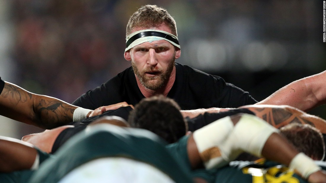 New Zealand rugby player Kieran Read is seen above a scrum during a Rugby Championship match against South Africa on Saturday, September 16.
