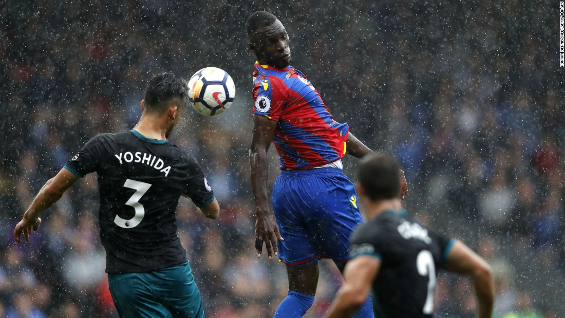 Southampton defender Maya Yoshida and Crystal Palace striker Christian Benteke compete for a header during a Premier League match in London on Saturday, September 16.