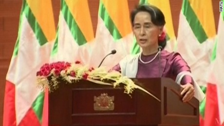 Aung San Suu Kyi during her address.