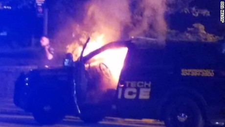 Georgia Tech police car on fire