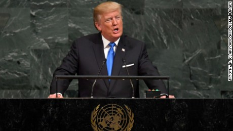 US President Donald Trump addresses the 72nd Annual UN General Assembly in New York on September 19, 2017. (TIMOTHY A. CLARY/AFP/AFP/Getty Images)