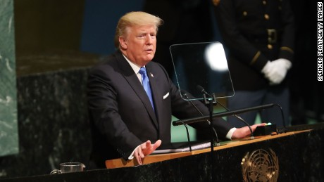 NEW YORK, NY - SEPTEMBER 19:  President Donald Trump speaks to world leaders at the 72nd United Nations (UN) General Assembly at UN headquarters in New York on September 19, 2017 in New York City. This is Trump's first appearance at the General Assembly where he addressed threats from Iran and North Korea among other global concerns.