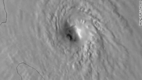 #Maria now a very dangerous Cat 4 hurricane with sustained winds of 130 MPH and an open eye. Approaching #Dominica. 1-hr #GOES16 meso vis.