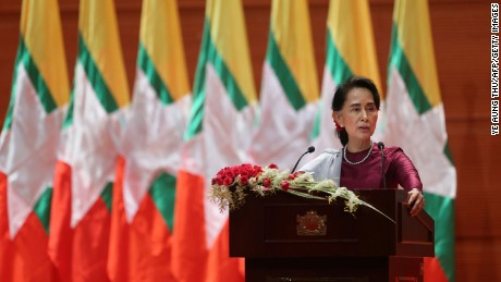 "Myanmar's State Counsellor Aung San Suu Kyi delivers a national address in Naypyidaw on September 19. Aung San Suu Kyi said on September 19 she ""feels deeply"" for the suffering of ""all people"" caught up in conflict scorching through Rakhine state, her first comments on a crisis that also mentioned Muslims displaced by violence. / AFP PHOTO / Ye Aung THU        (Photo credit should read YE AUNG THU/AFP/Getty Images)"
