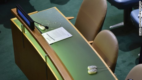 Two empty chairs of the Democratic People's Republic of Korea as President Trump addressed the United Nations General Assembly.