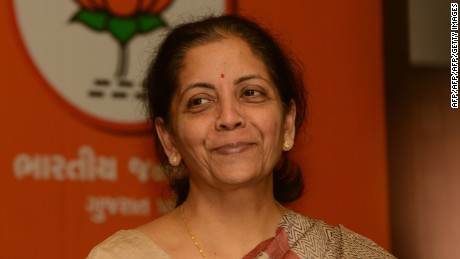 Nirmala Sitharaman, India's new defense minister, pictured during a press conference in Ahmedabad on December 8, 2012.