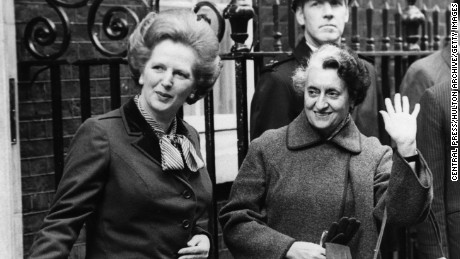 Indian Prime Minister Indira Gandhi meets British Conservative Prime Minister Margaret Thatcher during an official trip to London, March 22, 1982.