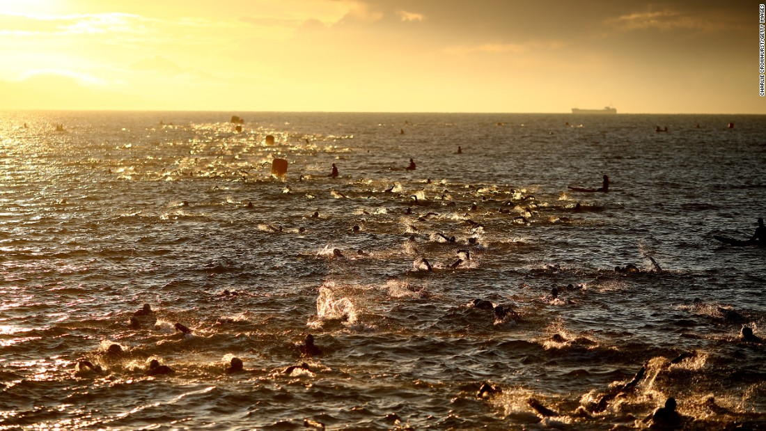 <strong>Weymouth, UK:</strong> Participants compete in the IRONMAN 70.3 Weymouth race in Dorset, England, on September 17.
