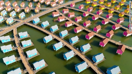 A general view of the dutch-style cabins of  Yue Tuo Island Resort near Laoting on September 18, in Tangshan, China.