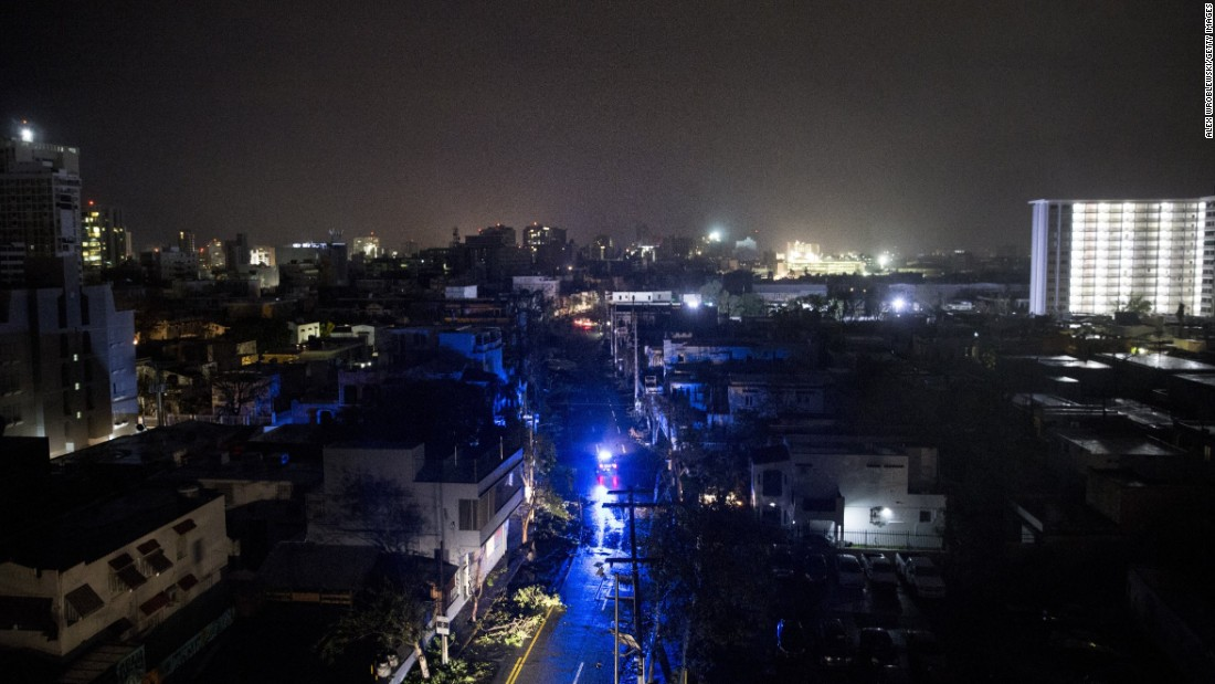 San Juan is shrouded in darkness after the hurricane knocked out power to the entire island of Puerto Rico.